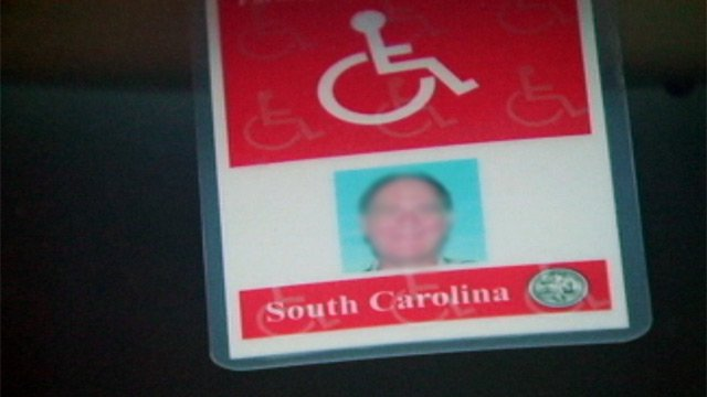 A handicap parking permit hang's from an Upstate driver's rearview mirror. (Nov. 29, 2012/FOX Carolina)