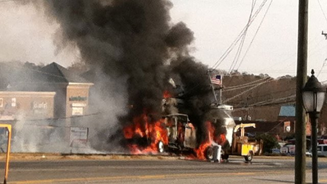 Pelham Road was shutdown after a truck crashed into a power pole near Batesville Road. (Nov. 30, 2012/FOX Carolina)