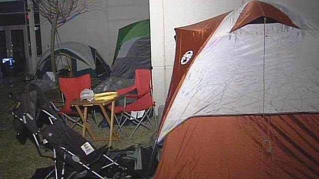 Tents are pitched outside A.J. Whittenburg Elementary School in Greenville. (Nov. 27, 2011/FOX Carolina)