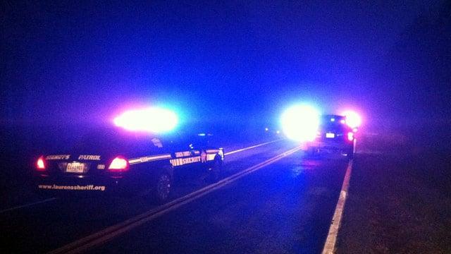 Laurens County deputies had Highway 308 blocked near the scene of the crash. (Dec. 3, 2012/FOX Carolina)