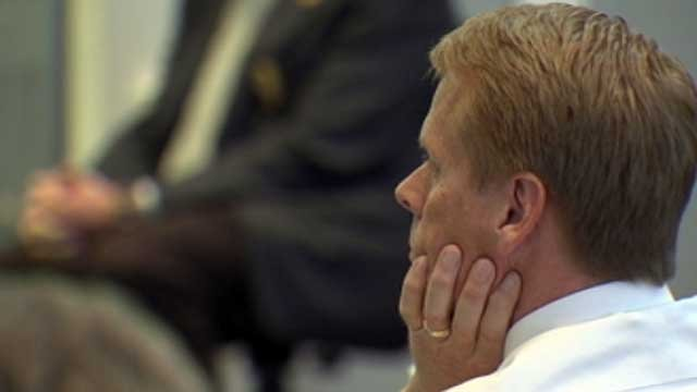 Donald Kinsela listens to testimony at his trial in Pickens County. (Dec. 3, 2012/FOX Carolina)