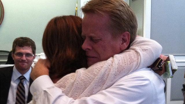 Donald Kinsela hugs his daughter Melissa after he was found not guilty. (Dec. 4, 2012/FOX Carolina)