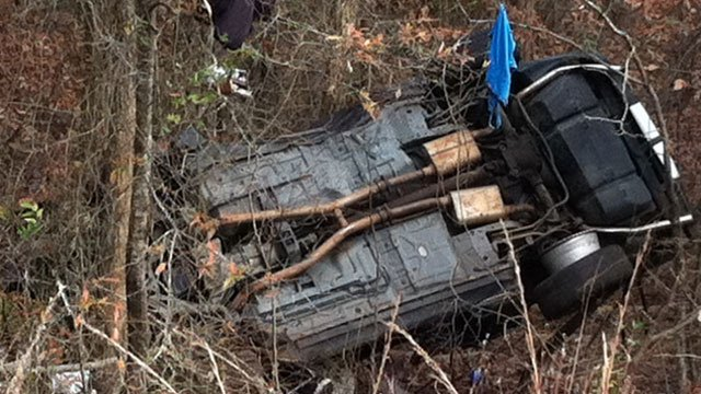 The underside of the vehicle deputies said crashed while being chased. (Dec. 4, 2012/FOX Carolina)