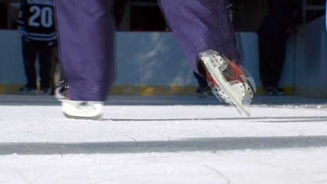 A skater glides across the ice at Ice On Main in downtown Greenville. (File/FOX Carolina)