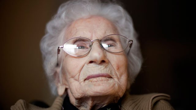In this Feb. 1, 2011 file photo, Besse Cooper, sits in her room at a nursing home, in Monroe, GA. (AP Photo/David Goldman, File)