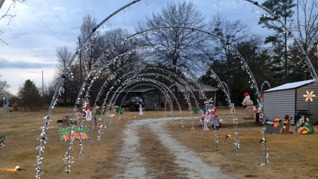 A tunnel of lights leads the way around the Hickory Tavern Fire Department's Christmas display. (Dec. 5, 2012/FOX Carolina)