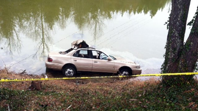 Officials say this car was found upside down in a Marietta pond. (Dec. 6, 2012/FOX Carolina)