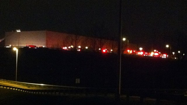 Firefighters respond to an interior fire at the BMW plant off of Highway 101 in Greer. (Dec. 6, 2012/FOX Carolina)