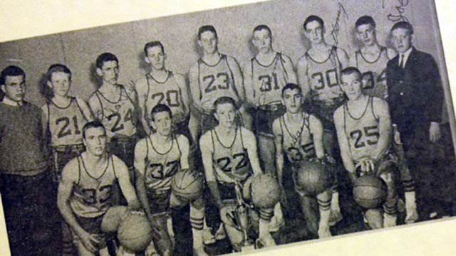 A photo of the 1963 state championship Travelers Rest team on display at TRHS. (Dec. 7, 2012/FOX Carolina)