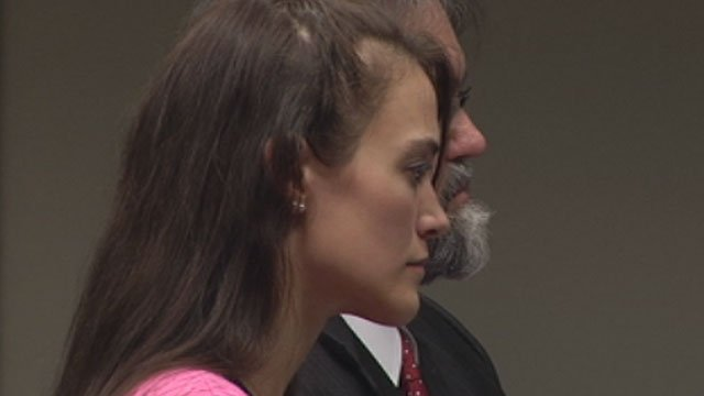 Jessica Blackham stands next to her attorney in a Greenville courtroom before she is sentenced. (Dec. 12, 2012/FOX Carolina)