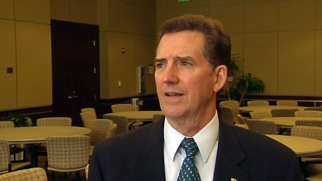 U.S. Sen. Jim DeMint talks to FOX Carolina after a meeting in Greer. (File/FOX Carolina)