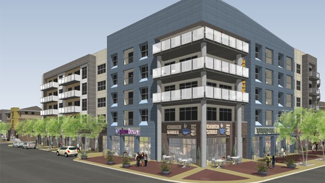 Officials say a mixed-use development is planned near the corner of Church Street and University Ridge. (Courtesy Beach Development)