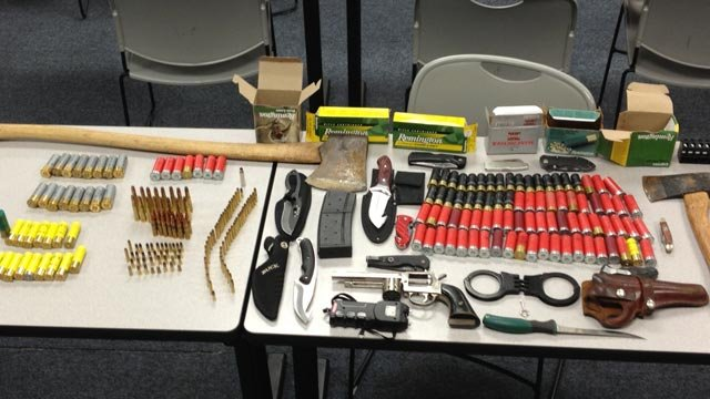 The weapons Easley police said they found in an Easley High student's car on Monday. (Easley Police Dept.)
