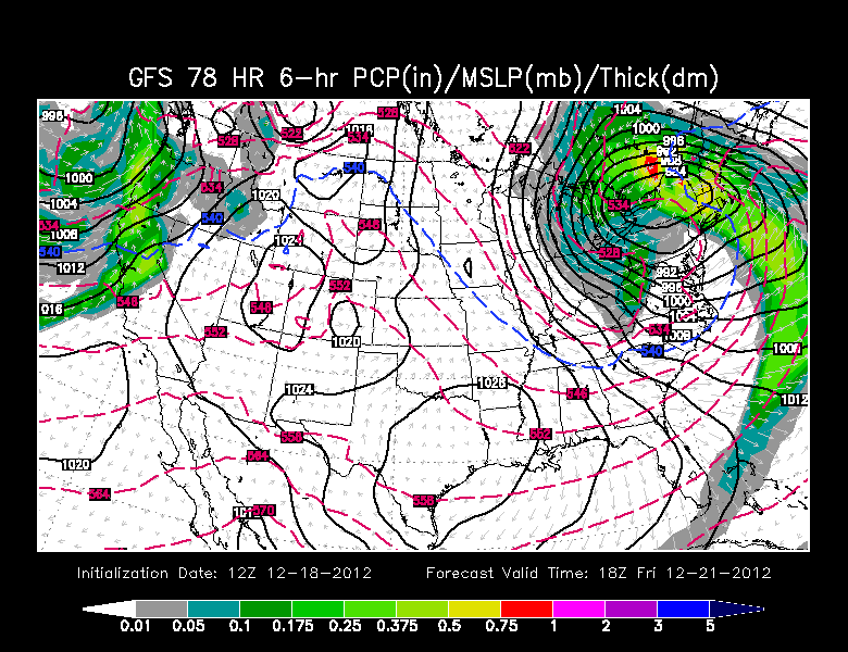 GFS model showing a cold, blustery Friday ahead!