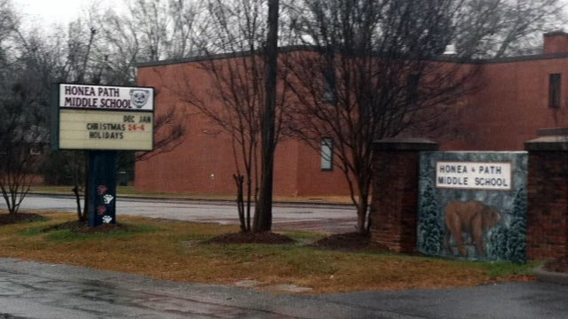 Honea Path Middle School is located on Brock Avenue in Honea Path, SC. (Dec. 20, 2012/FOX Carolina)
