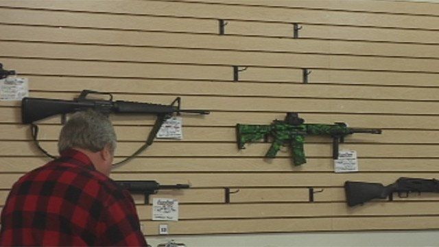 A few remaining semi-automatic rifles for sale at Allen Arms in Greenville.  (Dec. 20, 2012/FOX Carolina)