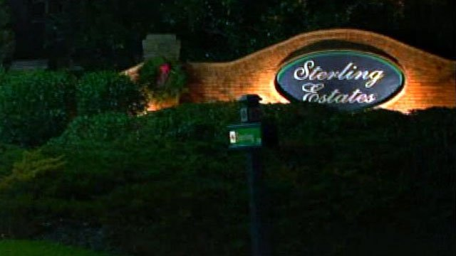 A sign indicates the entrance to the Sterling Estates neighborhood in Boiling Springs. (Dec. 26, 2012/FOX Carolina)