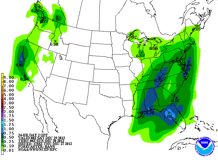 Projected rain totals from HPC for Saturday