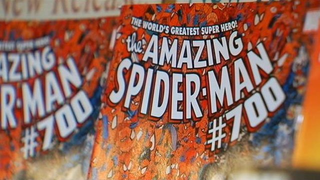 The cover of issue 700 of &quot;The Amazing Spiderman&quot; is displayed on a shelf in Greenville. (Dec. 27, 2012/FOX Carolina)