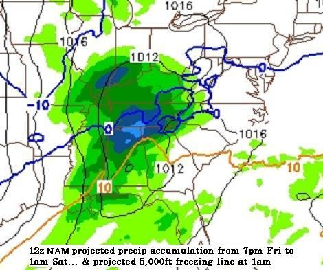 some of the newer (12z) data available this morning suggests moderate to heavy precipitation rates between 7pm and 1am while a sub-freezing layer is present over a portion of Western NC