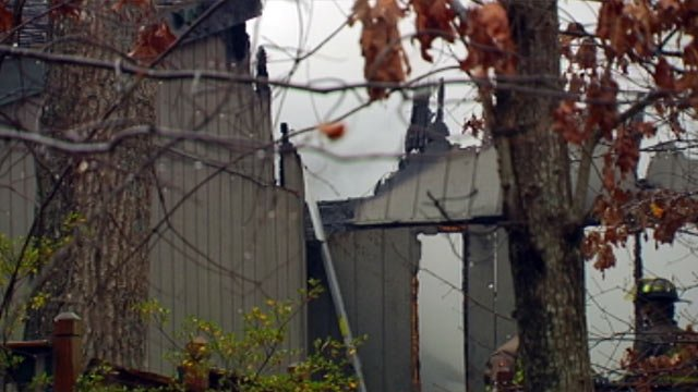 Firefighters battle flames at Lake Hartwell home on Centerville Road. (Jan. 1, 2013/FOX Carolina)