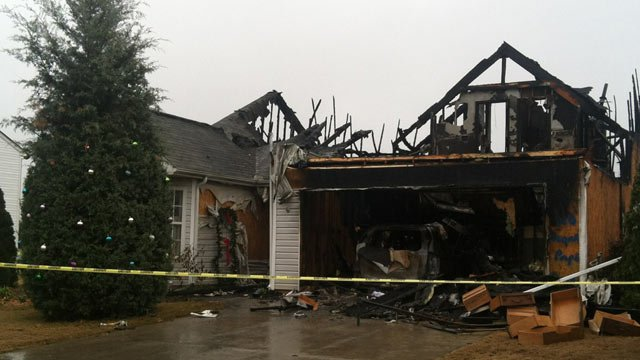 Fire ravaged this Piedmont home on New Year's Day. (Jan. 1, 2013/FOX Carolina)