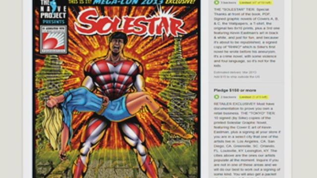 A screenshot of the Solestar comic book Kickstarter page. (Jan. 2, 2013/FOX Carolina)