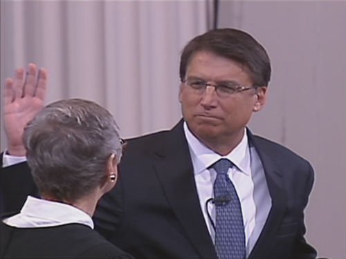 Pat McCrory is sworn in as the governor of North Carolina. (Jan. 5, 2012/WBTV-TV)
