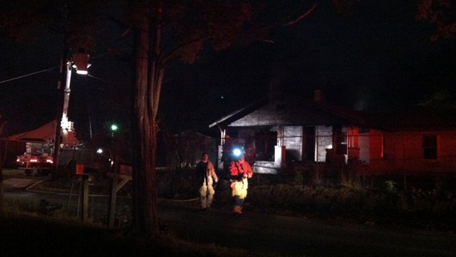 Firefighters investigate three fires at properties on Williams Street in Una. (Jan. 9, 2013/FOX Carolina)