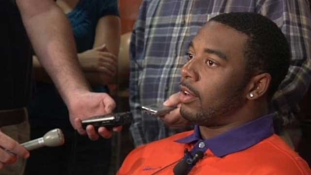 Clemson quarterback Tajh Boyd answers questions during a media event. (File/FOX Carolina)