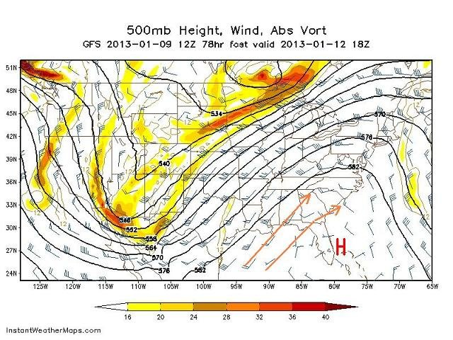 projection of a southeastern ridge of high pressure - Saturday at 1pm