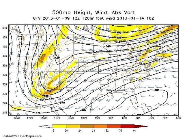 projection of a strong southeastern ridge of high pressure - Monday at 1pm