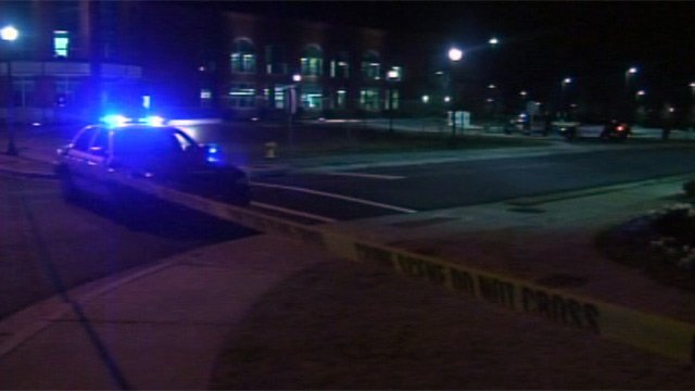 Police had part of Main Street blocked off after the robbery Wednesday night. (Jan. 9, 2013/FOX Carolina)