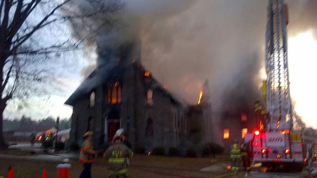 Flames engulfed St. Paul Lutheran Church in Pomaria Thursday morning. (Jan. 10, 2013/Newberry Co. Sheriff Lee Foster)