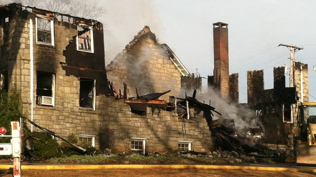 What remained of the fire-damaged church. (Jan. 10, 2013/FOX Carolina)