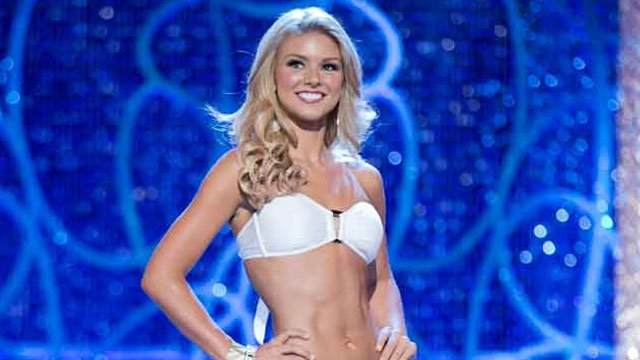 Miss South Carolina Ali Rogers, a native of Laurens, appears on stage during the swimsuit competition in Las Vegas. (AP Photo/Courtesy B. Vartan Boyajian/MAO)