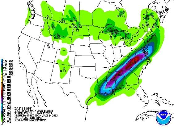HPC QPF through mid-week
