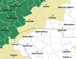 From NWS GSP (Flood Watch counties shaded in green)