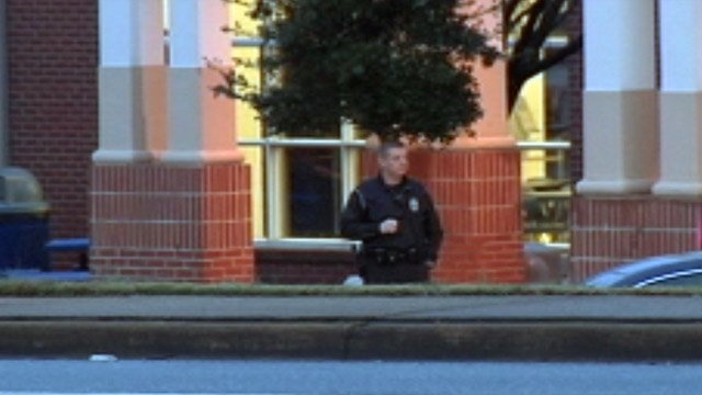 A law enforcement officer provided additional security during the morning drop-off time at Byrnes on Tuesday. (Jan. 15, 2013/FOX Carolina)