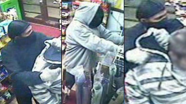 Surveillance photos from the Sunoco store during the armed robbery. (Jan. 15, 2013/Spartanburg Public Safety Dept.)