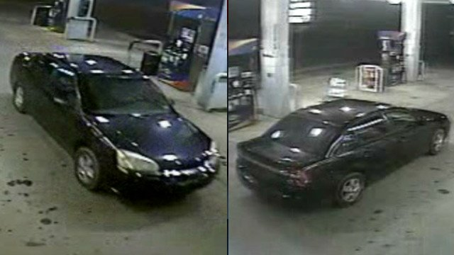 Surveillance photos of what police say was the getaway car from the Sunoco store during the armed robbery. (Jan. 15, 2013/Spartanburg Public Safety Dept.)