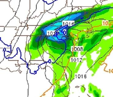 map projection from the newest 12z NAM - shows accumulated precip. between 1pm and 7pm Thursday as well as the mid-level freezing line at 7pm