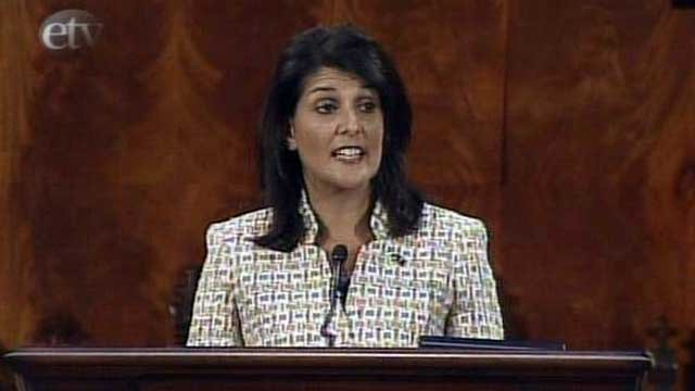 South Carolina Gov. Nikki Haley addresses state legislators during her State of the State Address. (Jan. 19, 2012/SCETV)