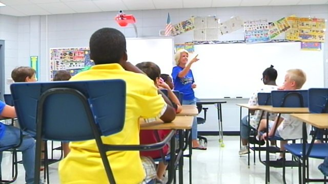 A teacher calls on a student in a Greenville County classroom. (File/FOX Carolina)