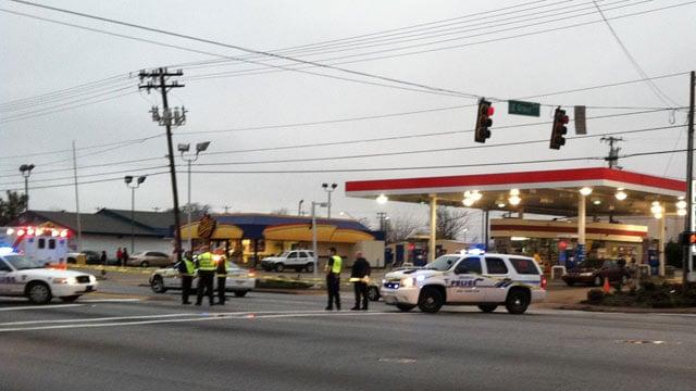Officers block off part of Pleasantburg Drive after a fatal crash. (Jan. 15, 2013/FOX Carolina)