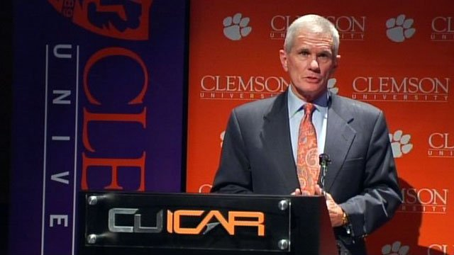Clemson University President James Barker talks to the media during a press conference at CUICAR. (File/FOX Carolina)