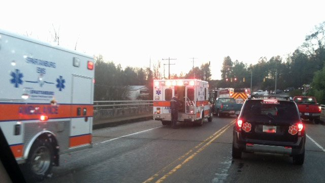 A crash on a bridge along Valley Falls Road in Boiling Springs Friday morning. (Jan. 18, 2013/FOX Carolina)