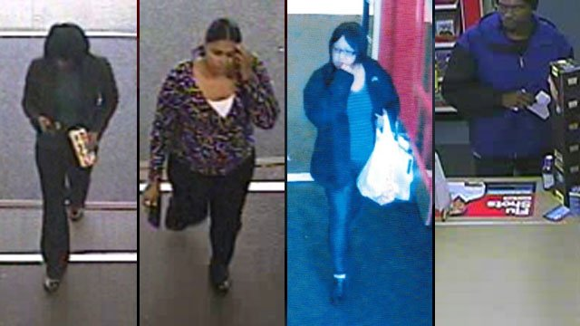 Deputies say the three women on the left used stolen bank cards at two stores and the man on the right tried to obtain a prescription with a fake ID. (Anderson Co. Sheriff's Office)