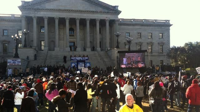 Supporters, ralliers and more gather outside the South Carolina State House in Columbia for King Day at the Dome. (Jan. 21, 2013/FOX Carolina)