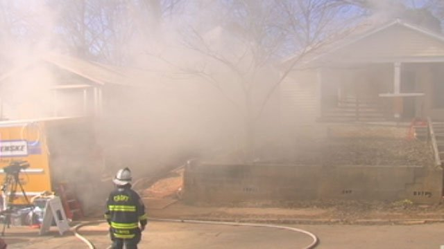 Smoke fills the air around one of the test sites in Spartanburg. (Jan. 22, 2013/FOX Carolina)